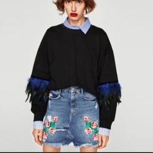 Zara Trafaluc Floral Embroidered Jean Mini Skirt